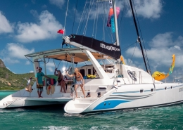 Caribbean kite cruise catamaran with pro rider board off