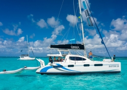 Caribbean kite cruise catamaran with dinghy