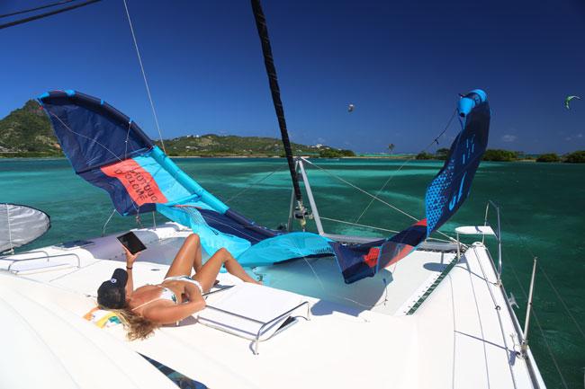 Comfortable catamaran kite cruise in the Caribbean