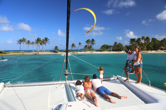 Family on Catamaran Kite Trip