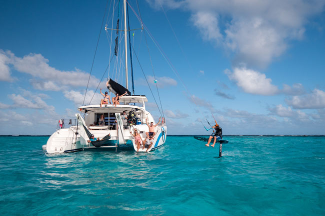 Foiling on a Kite Trip Cruise in the Grenadines