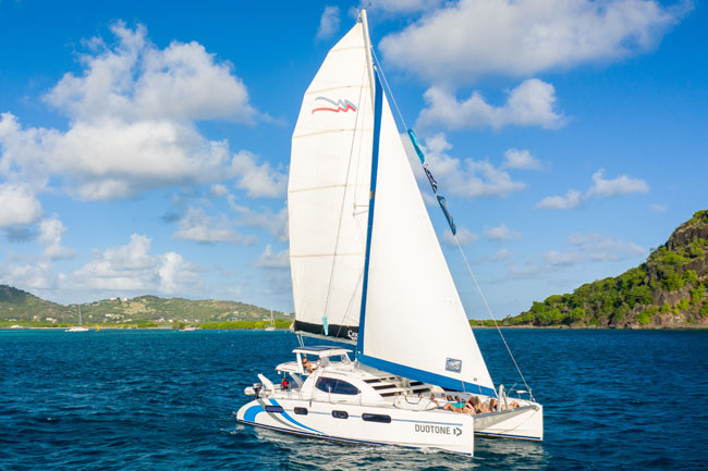 Kite cruise Catamaran sailing in the Grenadines