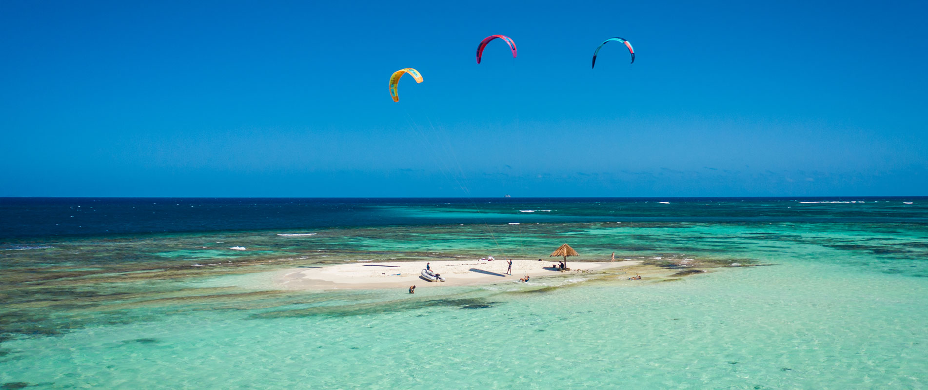 Kitesurfing on Mopion Island in the Grenadines