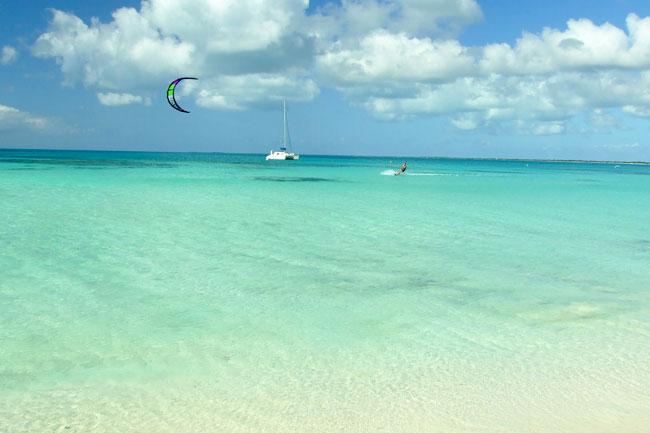 Kitesurfing in the Virgin Islands in the Caribbean