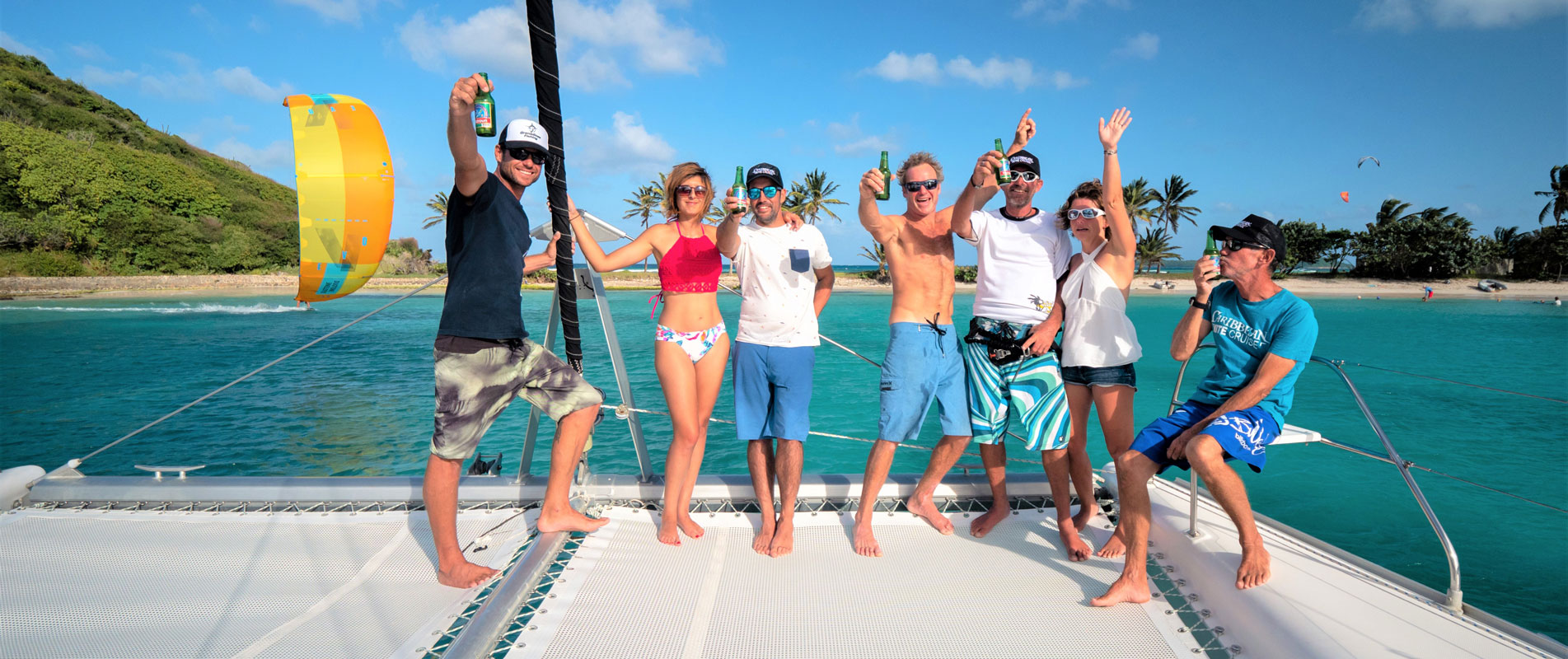 Lifestyle on a catamaran kite cruise in Mayreau kite spot