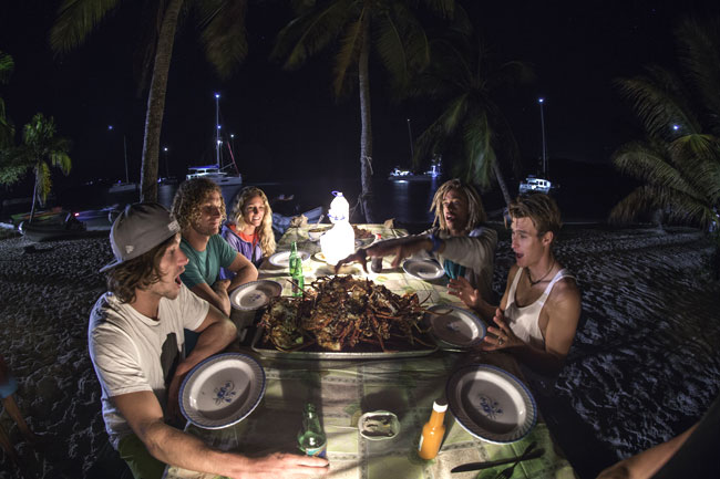 Lobster bbq at the beach after kiteboarding in the Grenadines