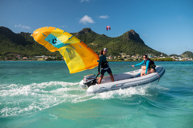 Rescue boat kitesurf student in the Grenadines